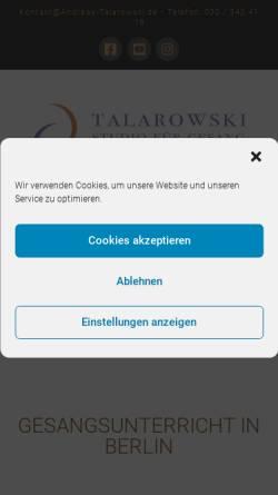 Vorschau der mobilen Webseite www.studio-fuer-gesang-berlin.de, Talarowski, Andreas