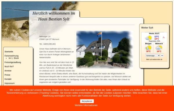 Vorschau von www.hausbastian-sylt.de, Haus Bastian