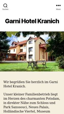 Vorschau der mobilen Webseite www.hotel-kranich.de, Garni-Hotel Kranich