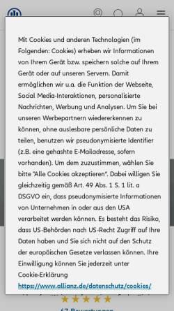 Vorschau der mobilen Webseite vertretung.allianz.de, Allianz Versicherung und Baufinanzierung - Jens Schmidt