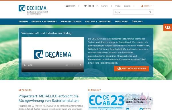 Vorschau von www.dechema.de, DECHEMA