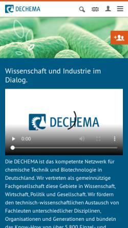 Vorschau der mobilen Webseite www.dechema.de, DECHEMA