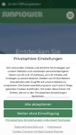 Vorschau der mobilen Webseite www.sunflower-gartencenter.de, Sunflower GmbH