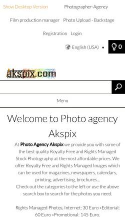 Vorschau der mobilen Webseite www.akspix.com, Akspix - Bildagentur, Majid Amoli