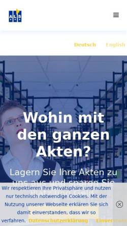 Vorschau der mobilen Webseite als-fra.de, ALS Akten Logistik und Service GmbH
