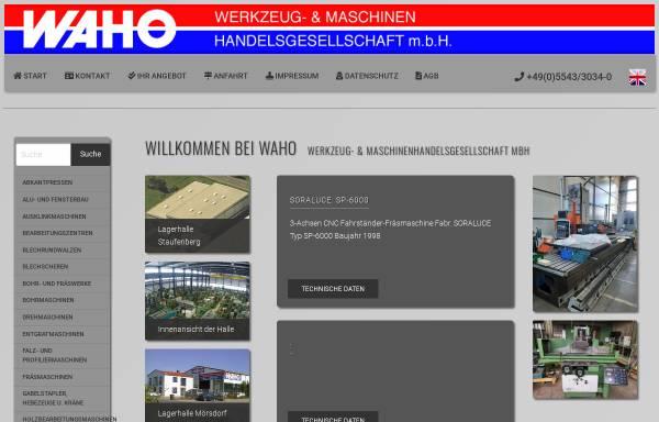 Vorschau von www.waho.de, WAHO Werkzeug- und Maschinenhandelsgesellschaft mbH