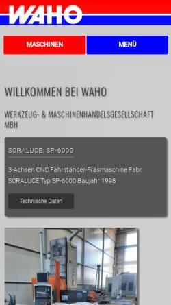 Vorschau der mobilen Webseite www.waho.de, WAHO Werkzeug- und Maschinenhandelsgesellschaft mbH