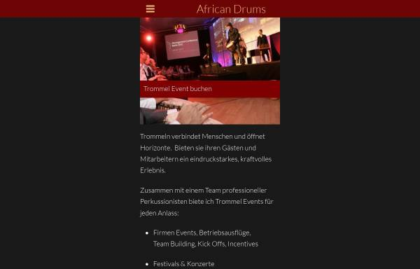 Vorschau von www.africandrums.de, African Drums - Trommelkurse in Berlin. Verkauf von Djembe und Kpanlogo Trommeln