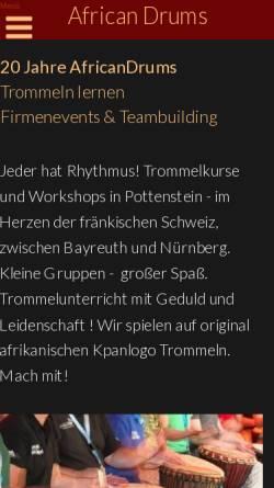 Vorschau der mobilen Webseite www.africandrums.de, African Drums - Trommelkurse in Berlin. Verkauf von Djembe und Kpanlogo Trommeln