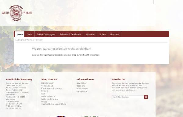 Vorschau von www.bonheur.de, Le Bonheur Weine & Feinkost - Andreas Gölitzer
