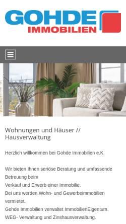 Vorschau der mobilen Webseite www.gohde-immobilien.de, Gohde Immobilien, Rüdiger Gohde