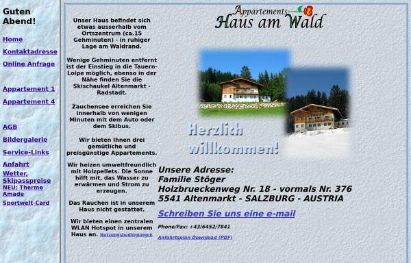 Vorschau von hausamwald.members.cablelink.at, Appartements Haus am Wald