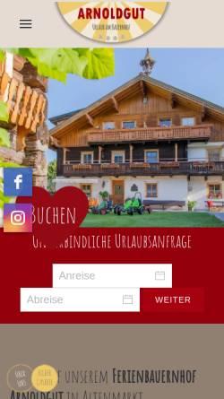 Vorschau der mobilen Webseite www.bauernhofurlaub.co.at, Bauernhofurlaub am Arnoldgut in Altenmarkt Zauchensee, Salzburgerland