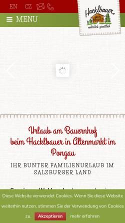 Vorschau der mobilen Webseite www.hacklbauer.at, Bauernhofurlaub beim Hacklbauer in Altenmarkt Zauchensee