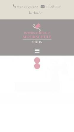 Vorschau der mobilen Webseite www.musik-schule-berlin.de, Internationale Musikschule Berlin