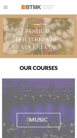 Vorschau der mobilen Webseite www.btmk.de, Konservatorium für türkische Musik Berlin