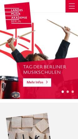 Vorschau der mobilen Webseite www.landesmusikakademie-berlin.de, Landesmusikakademie Berlin