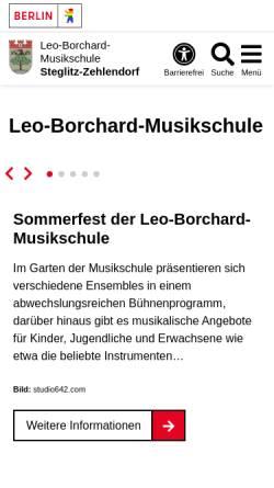 Vorschau der mobilen Webseite www.berlin.de, Leo Borchard Musikschule Berlin Steglitz-Zehlendorf