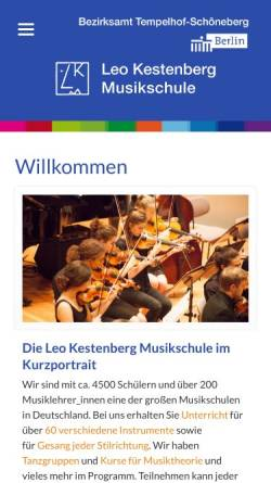 Vorschau der mobilen Webseite www.lkms.de, Leo Kestenberg Musikschule Berlin