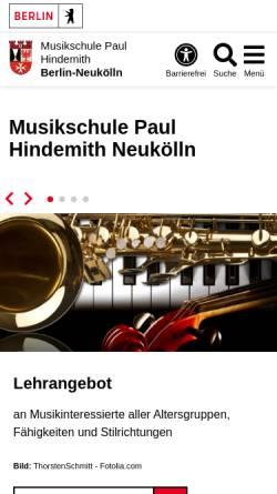 Vorschau der mobilen Webseite www.musikschuleneukoelln.de, Musikschule Paul Hindemith Neukölln