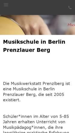 Vorschau der mobilen Webseite www.musikwerkstatt-prenzlberg.de, Musikwerkstatt Prenzlberg