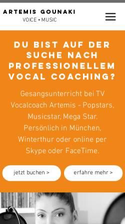 Vorschau der mobilen Webseite www.artemis-x.com, Vocalcoach Artemis