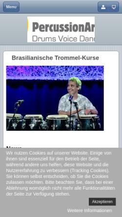 Vorschau der mobilen Webseite www.pac-berlin.de, PAC - Percussion Art Center, Trommeln in Berlin