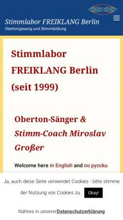 Vorschau der mobilen Webseite www.stimmlabor.de, Stimmlabor FREIKLANG Berlin - Obertongesang und Stimmbildung