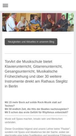 Vorschau der mobilen Webseite www.tonart-die-musikschule.de, TonArt - Die Musikschule