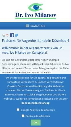 Vorschau der mobilen Webseite www.augenarzt-milanov.de, Milanov, Dr. Ivo