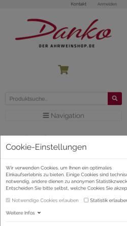 Vorschau der mobilen Webseite ahrweinshop.de, Internetagentur-Caspers & ahrland Dankos Weinladen