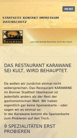 Vorschau der mobilen Webseite karawane-oberkassel.de, Restaurant Karawane