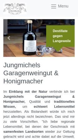Vorschau der mobilen Webseite jungmichels.de, Jungmichels Wine & Lifestyle GmbH