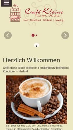 Vorschau der mobilen Webseite www.cafekleine.de, Cafe Kleine