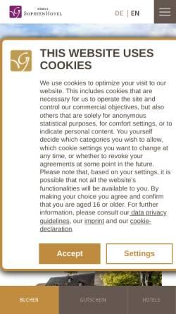 Vorschau der mobilen Webseite www.sophienhotel.de, Sophien Hotel
