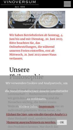 Vorschau der mobilen Webseite www.vinoversum.ch, Vinoversum A. Gatti AG