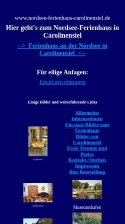 Vorschau der mobilen Webseite www.nordsee-ferienhaus-carolinensiel.de, Ferienhaus Burmeister