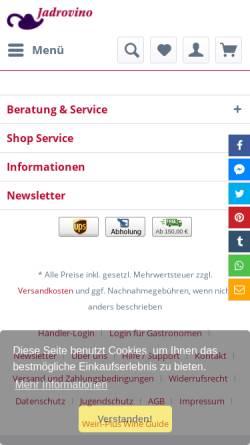 Vorschau der mobilen Webseite www.jadrovino.de, Weinhandel Gerhard Lzicar