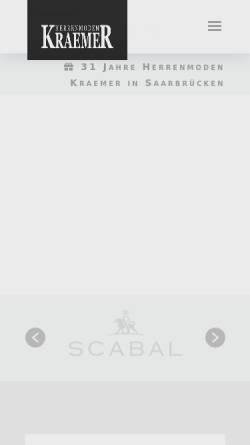 Vorschau der mobilen Webseite www.herrenmoden-kraemer.de, Herrenmoden Krämer GmbH
