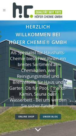 Vorschau der mobilen Webseite hoefer-chemie.de, Höfer Chemie GmbH