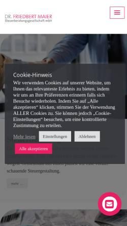 Vorschau der mobilen Webseite www.maier-steuerberater.de, Steuerkanzlei Dipl.-Kfm. Dr. Friedbert Maier