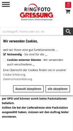 Vorschau der mobilen Webseite www.gressung.de, Trapp, Hannes Fotograf