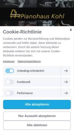 Vorschau der mobilen Webseite www.pianohauskohl.de, Pianohaus Kohl Helge Huwig