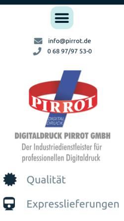 Vorschau der mobilen Webseite www.pirrot.de, Digitaldruck Pirrot GmbH Dudweiler