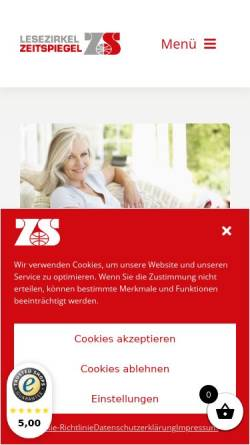 Vorschau der mobilen Webseite www.lesezirkel-zeitspiegel.de, Lesezirkel Zeitspiegel Dipl.-Kfm. Beate Stahl