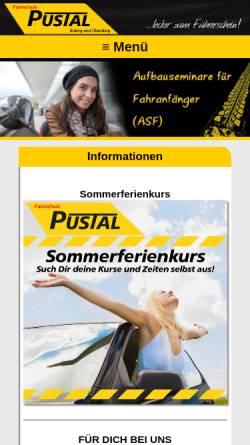 Vorschau der mobilen Webseite www.fahrschule-pustal.de, Fahrschule Pustal