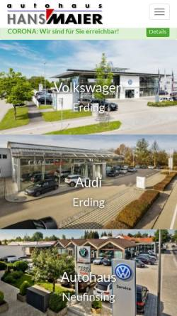 Vorschau der mobilen Webseite www.autohaus-maier.de, Autohaus Hans Maier GmbH