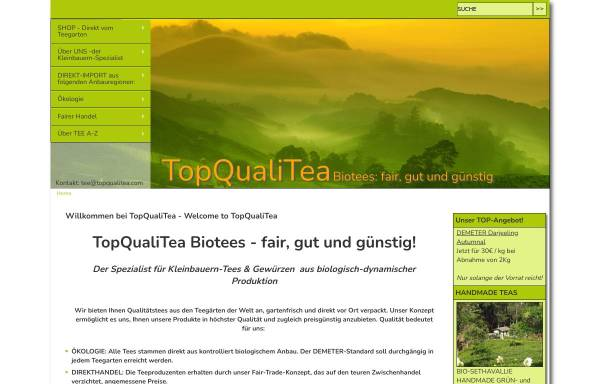 Vorschau von www.topqualitea.com, Tea and Spices Organic Fair Trade, Dr. Benedikt M. Kaukler