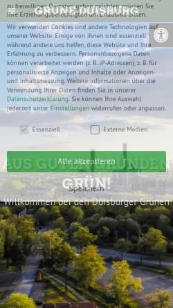 Vorschau der mobilen Webseite gruene-duisburg.de, Bündnis 90/Die Grünen, Kreisverband Duisburg
