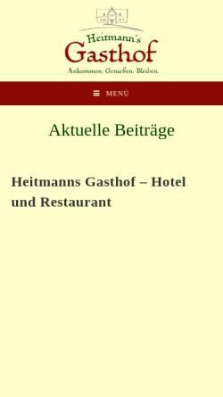 Vorschau der mobilen Webseite www.heitmannsgasthof.de, Heitmanns Gasthof